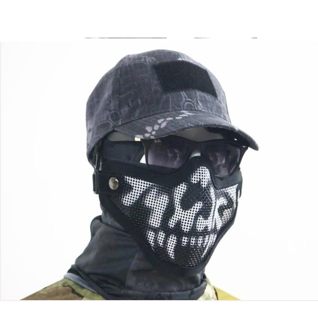 Mesh Wire Design Airsoft Paintball Combat Skull Mask For Face Protection