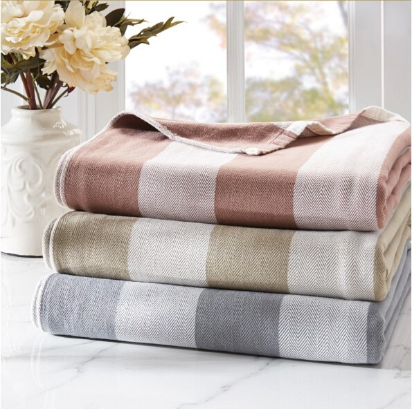 100% cotton terry simple elegent vintage stripe print blanket