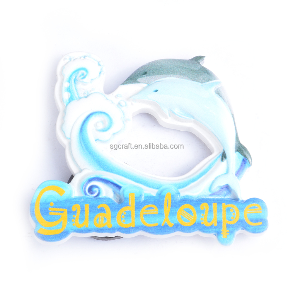 China Supplier Custom 3d Cute Dolphin Cartoon Fridge Magnet Of Guadeloupe