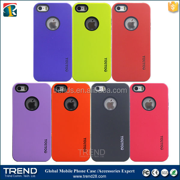High quality oil coating youyou pc+tpu case for iphone 5 5s