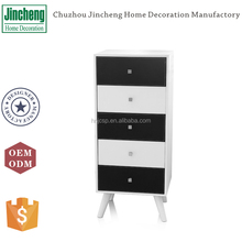 New arrival decorative white leather high chest of 5 drawers and narrow with wooden legs