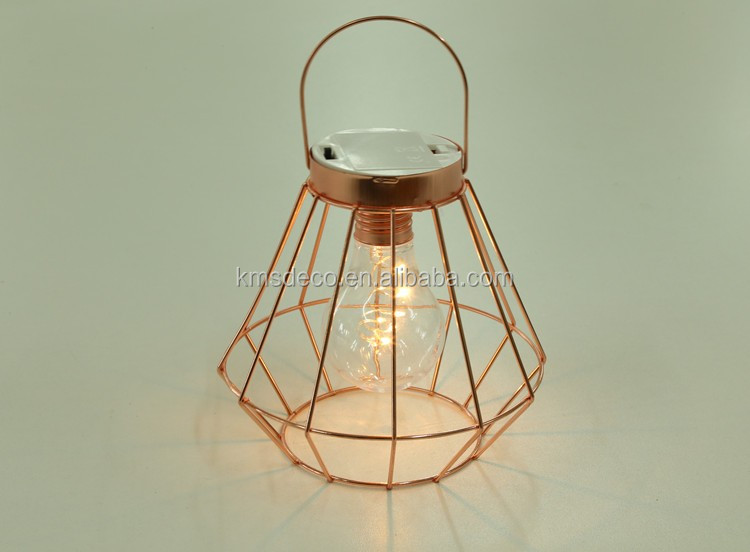 2017 traditional style metal frame rose gold geometric cage lamp home deco