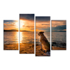 4 Piece Animal Wall Art Dog Watch Sunset on Beach Painting Prints Seascape Picture for Homr Decor