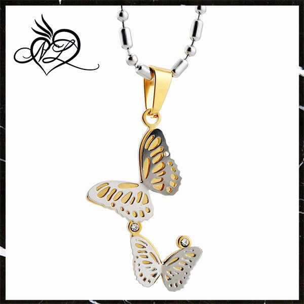 gold plated stainless steel butterfly pendant, good price stainless steel jewelry