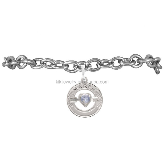 fashion and customized antique silver plating March aquamarine birthstone charms link bracelet jewelry for hot sale