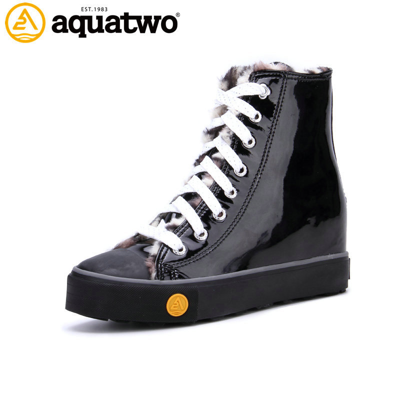2017 China Factory Aquatwo Branded Classic Women Canvas Black High Cut Shoes with Zipper