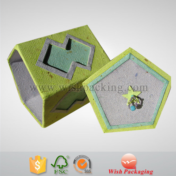 Recyled paper pulp material cardboard paper package box