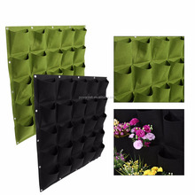 25Pockets Vertical Wall Mount Garden Plant Grow Container Bags Living Felt Wall Hanging Planter, Eco-friendly Green Field