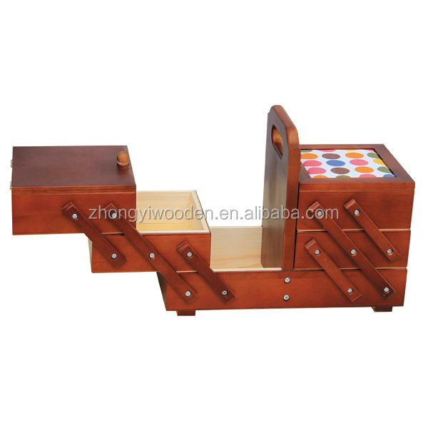 wholesale BSCI custom folding adjustable wooden needlework sewing storage box for girl gift