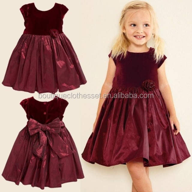 whoelsale kids party wear dresses for girls one piece girls party dresses red velvet flower dress