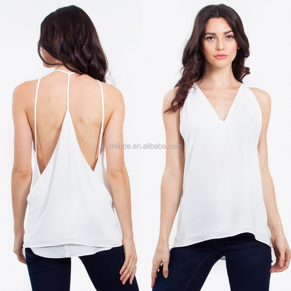 Summer Hot Wholesale Clothing Fashion Sexy Boob Tube Women Double Layer Cami Tank Tops with Open Back