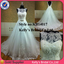 2014 flowing lace appliqued wedding gown maid of honour gown