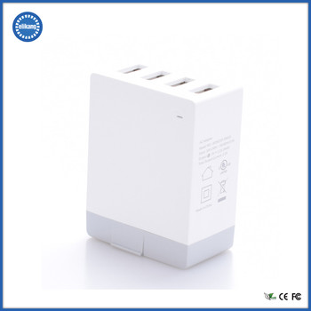 CE, RoHS and FCC approved 4 Port USB EU Wall Charger AC Adapter
