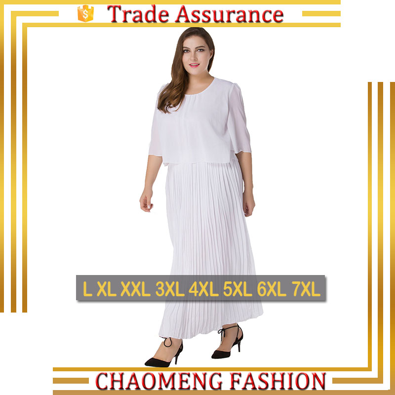 9016# White Soild Color Long Cape Chiffon Dresses Bohemian Dress For Women Plus Size Clothing