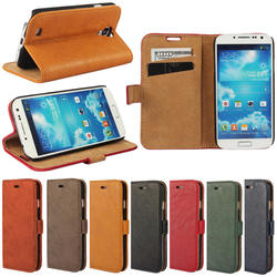 Tree Bark Matte PU leather for samsung s4 case, Mobile phone cover case for samsung s4 i9500