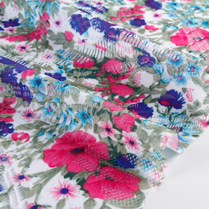 soft handle free samples 3d lace fabric flower spandex nylon printing fabric for fashionable dress