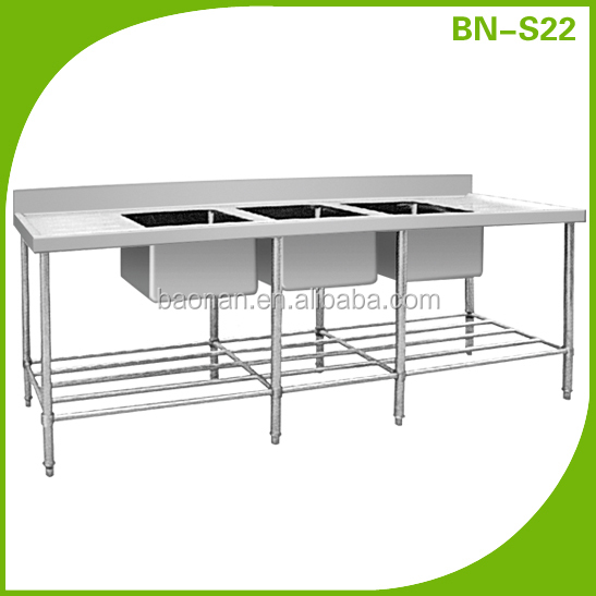 Commrecial stainless steel triple sink bench BN-S22
