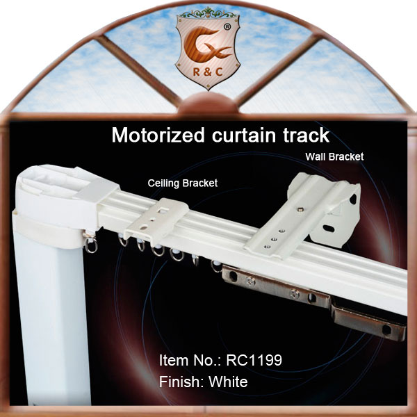Sliding heavy duty electric curtain track with ceiling or wall bracket