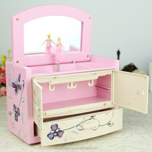 Lovely Girl Jewelry Music Box With Drawer Hand Cranked Music Box Good quality as gift
