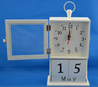 white color wooden table clock with calendar and glass window