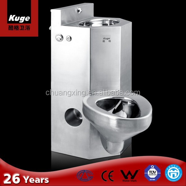 CE approved Stainless steel prison toilet and sink combination