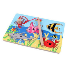 Fishing board game Wooden mini ocean Crab Fish wood Puzzle preschool magnetic fishing toy For Kids toys