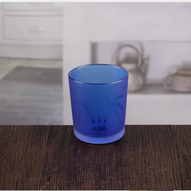 Blue and green candle vessels small colored glass candle holder wholesale