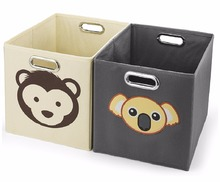 Foldable Fabric Storage Cube Basket Bins Boxes Closet Organizer with Built-in Chrome Handles