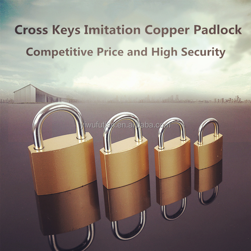 Cheap and Fine Imitation Copper Padlock Brass Painted Iron Padlock with Precision Cross-type Key