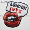 Embroidery mouth fashion ready made sequin patch for clothes WEFB-001