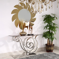 Stainless Steel Base Console Table Tempered