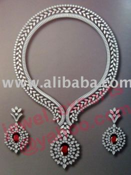 925 Sterling Silver AD & Rubies Necklace Jewelry Set