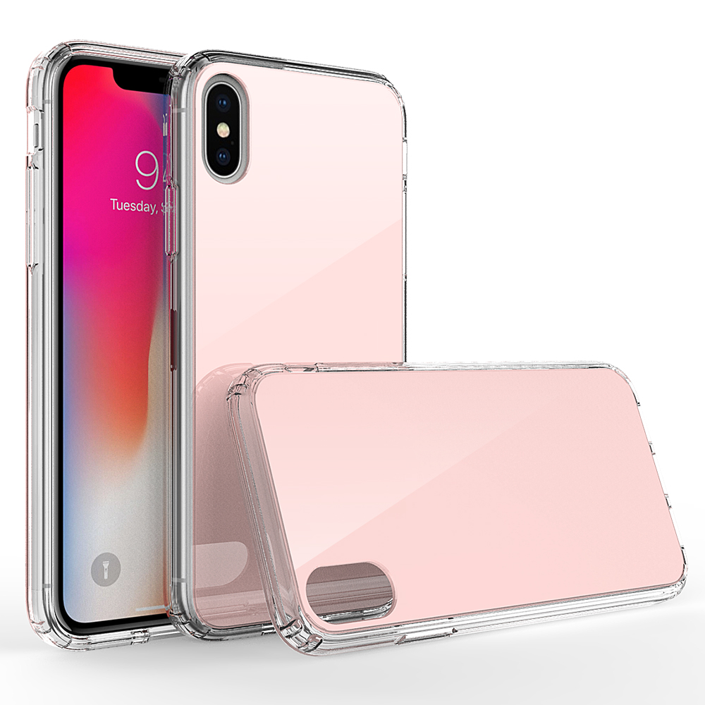 For Apple Iphone X 10 Case Colorful TPU PC Tempered Glass Cover Back Shell Mobile Phone Cases Cover