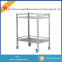 Wholesale Mobile 2-tier Stainless Steel Hospital food trolley push cart for sale