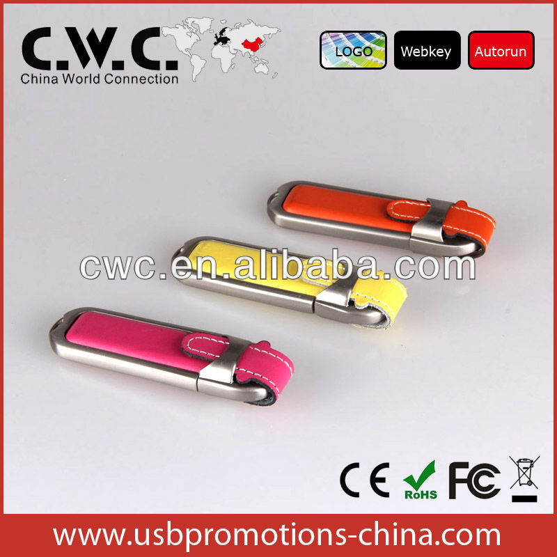 Promotional OEM leather 4gb usb disk usb flash drive custom usb flash drive