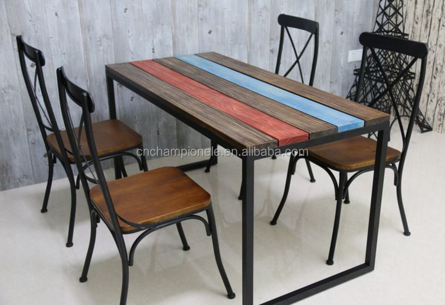 wholesale industrial metal x back dining chairs and tables MX-0703set