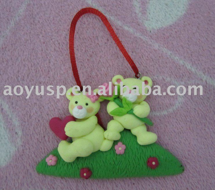 Polymer clay Bear Pendant couple lover pendant Christmas ornaments