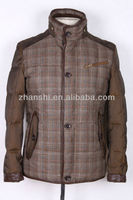Fashionable Checked Woolen Feather Down Jacket