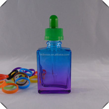 Durable glass sport bottle rectangle shape 30ml mix purple and blue color glass bottle recycle machine