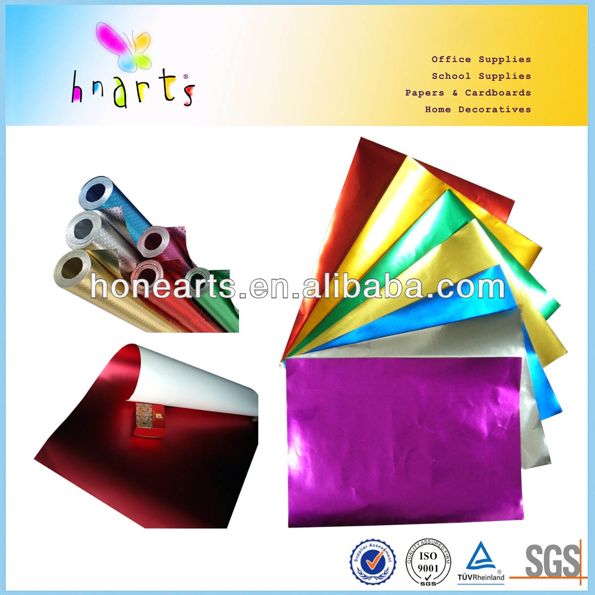 colorful 80gsm aluminium foil backing paper for craft