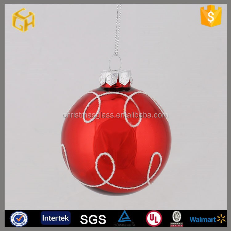 2015 New products hanging glass ball decorations in christmas