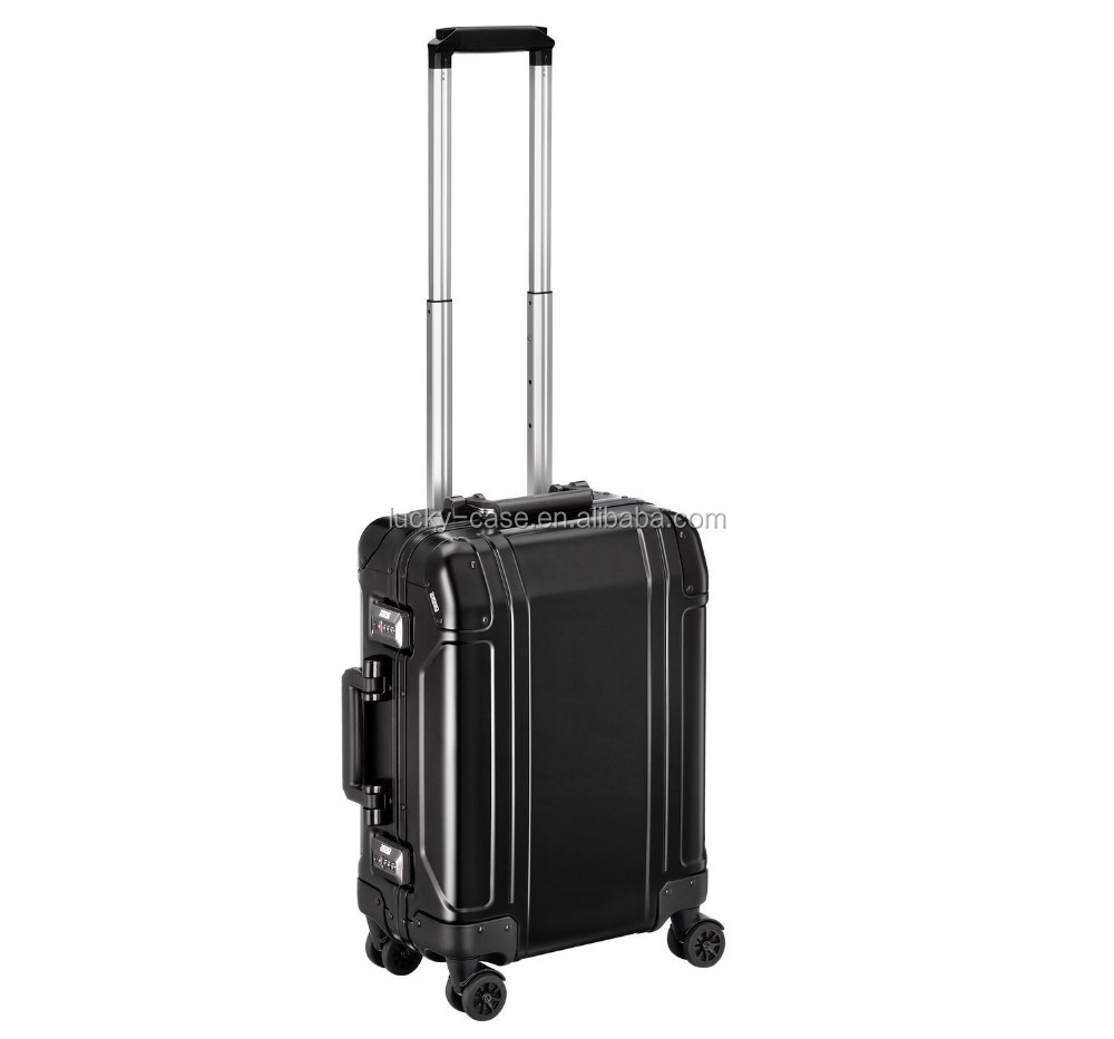 Custom Aluminum Black 4 Wheels Travel Suitcase
