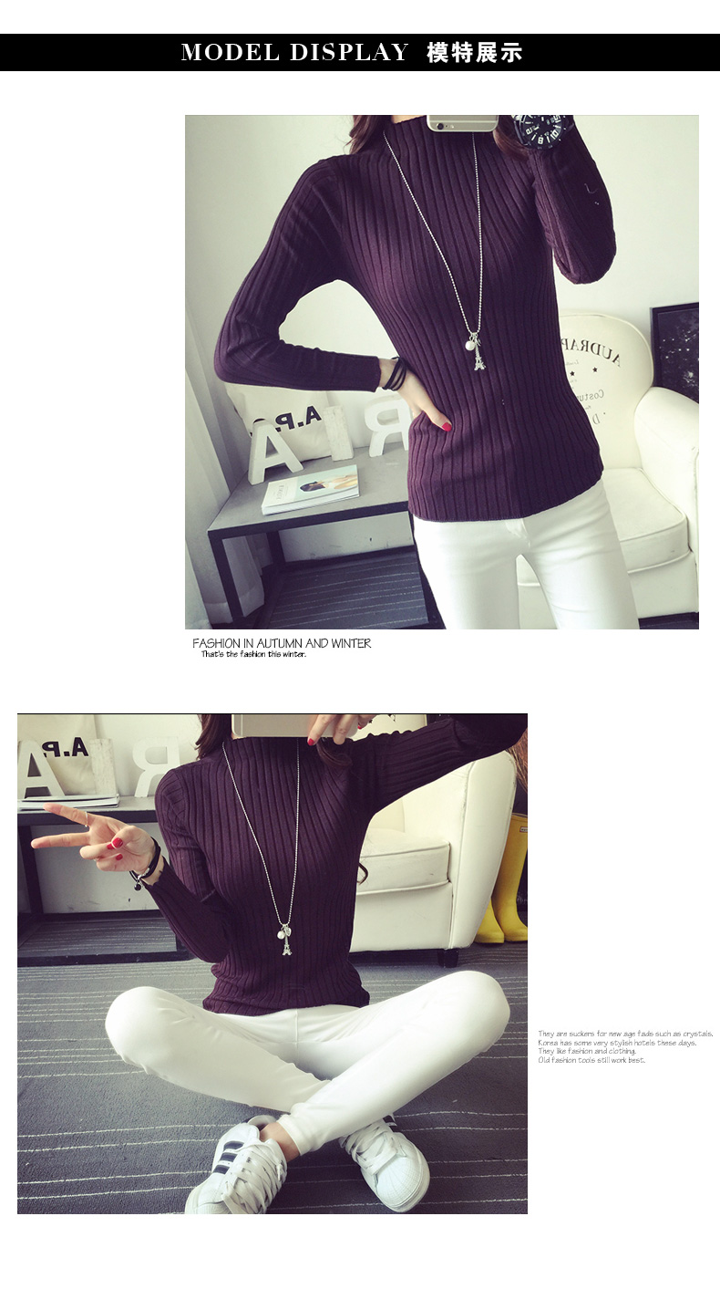 19 Autumn and winter New Korean Half turtleneck Sweater jacket Womens Long Sleeve Set head All-match knitted Sweater woman 36