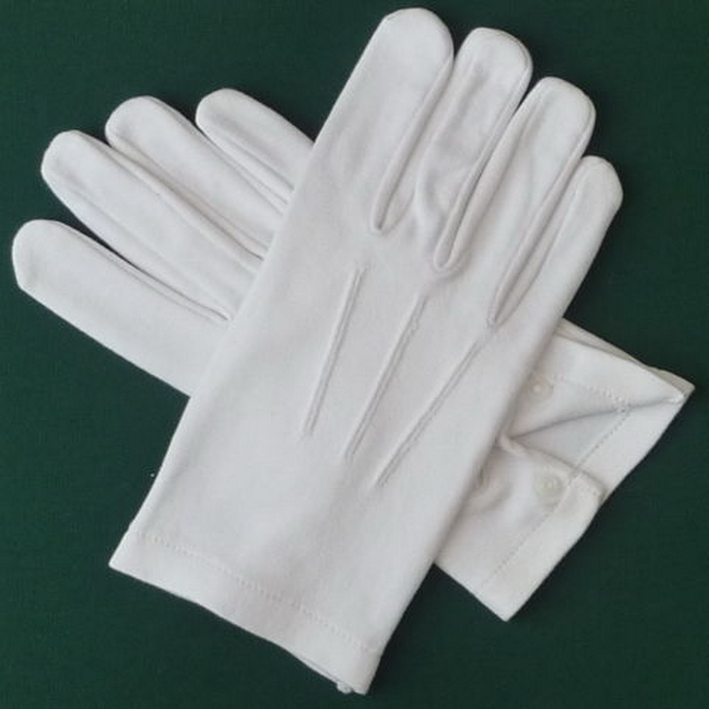 Men'S Formal White Cotton Parade Gloves With Snaps