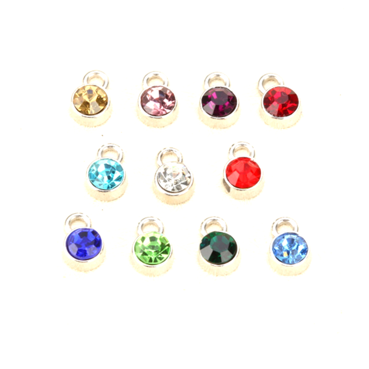Factory direct 12 month birthstone jewelry charms 5mm round birghtstones for bracelet necklaces making (CM-038)