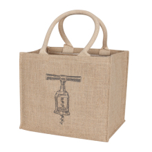 Eco-friendly personalised printed jute tote wine bag