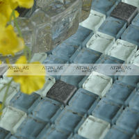 15*15mm glass mix stone mosaic tile ,decorative balls mosaic black,instant mosaic tile picture