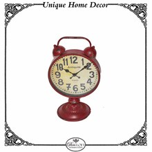 Antique Paris Style Wood And Metal Office Table Clock In Red