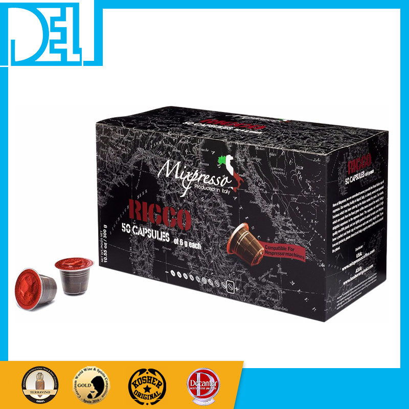 2017 Natural coffee Italy Mixpresso RICCO Espresso 50 coffee capsules compatible for Nespresso machine