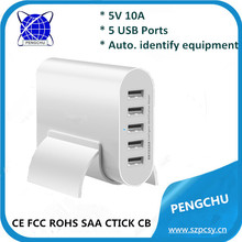 PC-050100 5V / 10A Intelligent multiple 5 Port USB Charger Wall Charger with Auto Identification
